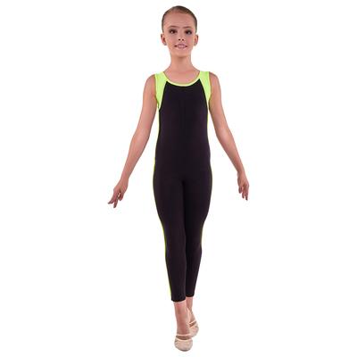 Комбинезон гимнастический «Мицар», размер 36, цвет чёрный - лимон
