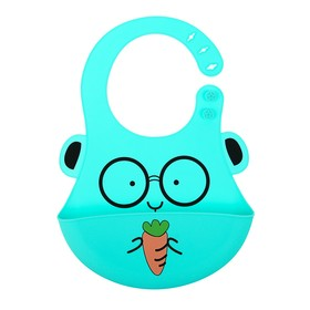 "Baby bib silicone ""Bunny"", color blue"