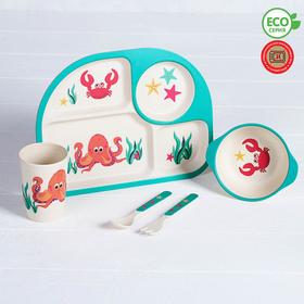Набор детской посуды из бамбука «Морские жители», 5 предметов: тарелка, миска, стакан, столовые приборы