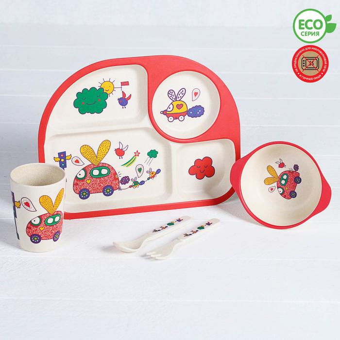 Набор детской посуды из бамбука «Путешествие», 5 предметов: тарелка, миска, стакан, столовые приборы