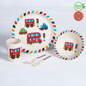 Набор детской посуды из бамбука «Машинки», 5 предметов: тарелка, миска, стакан, столовые приборы
