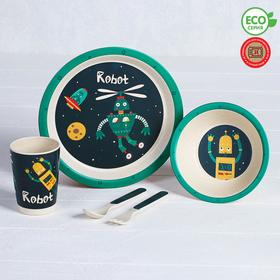 Набор детской посуды из бамбука «Робот», 5 предметов: тарелка, миска, стакан, столовые приборы