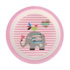 Набор детской посуды из бамбука «Розовый слоник», 5 предметов: тарелка, миска, стакан, столовые приборы - фото 105459531