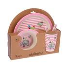 Набор детской посуды из бамбука «Розовый слоник», 5 предметов: тарелка, миска, стакан, столовые приборы - фото 105459530