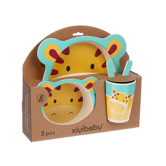 Набор детской посуды из бамбука «Жирафик», 5 предметов: тарелка, миска, стакан, столовые приборы