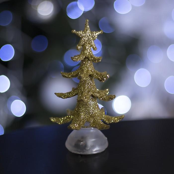 """Игрушка световая """"Новогодняя ёлочка"""" (батарейки в комплекте) 13 см, 1 LED, RGB, ЗОЛОТАЯ 107"""