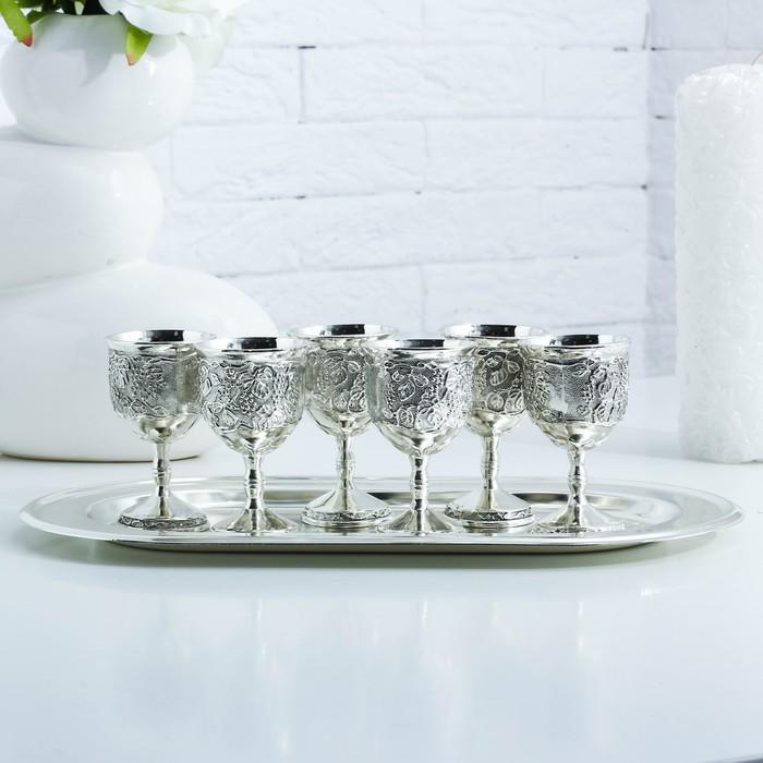 Набор стопок «Виноградная лоза», 7 предметов, поднос 29×16,2×8 см, 6 рюмок