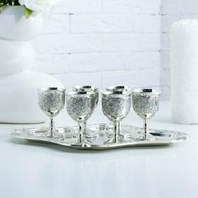 Набор стопок «Виноградная лоза», 7 предметов, поднос 27,3×21,2×9,5 см, 6 рюмок