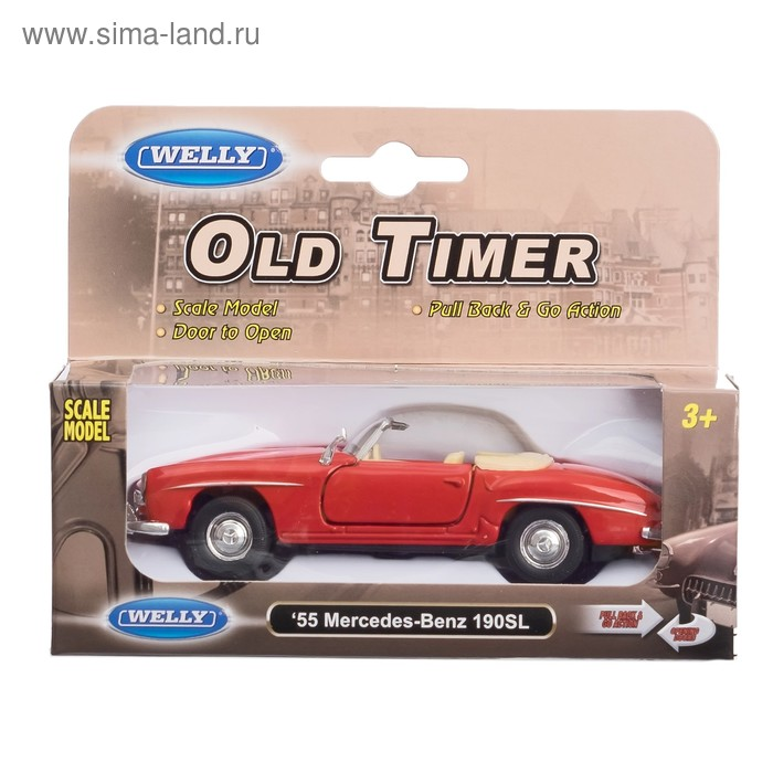 Машина винтажная Mercedes Benz 190SL, масштаб 1:34-39, цвета МИКС