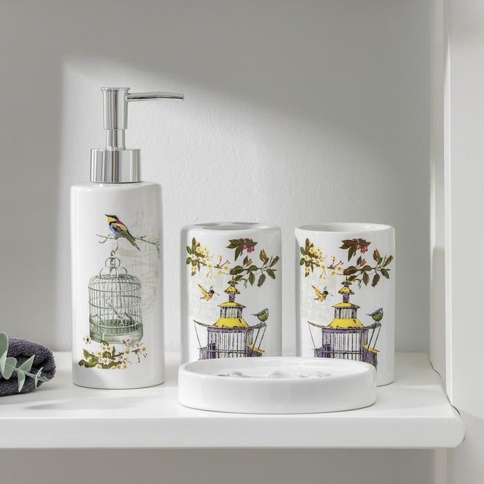 Набор аксессуаров для ванной комнаты «Клетка», 4 предмета (дозатор 200 мл, мылница, 2 стакана) - фото 7930141