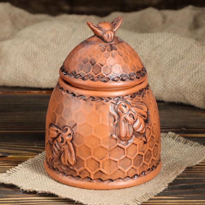 "Бочонок для мёда ""Пчёлка"", красная глина, 1 л, микс"