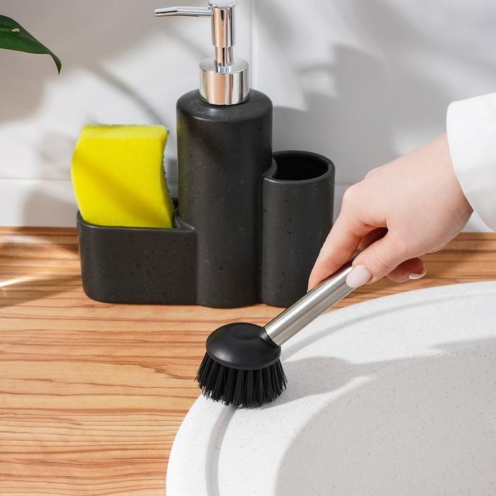"""Дозатор для моющего средства """"Минимал"""", с щёткой и подставкой для губки, цвет чёрный"""