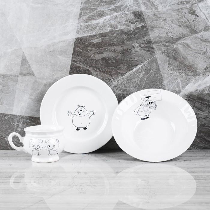 "Столовый набор ""Поросята"" тарелка d175 мм, салатник 0,5 л, чашка 0,2 л   микс"