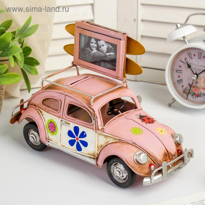 """Модель Ретро """"Автомобиль розовый, с фоторамкой и копилкой"""" 26x11x13 см."""