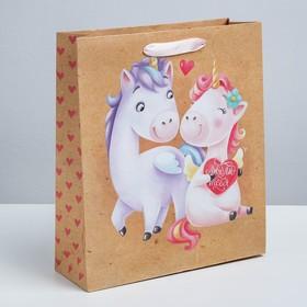 Пакет вертикальный крафтовый «Любовь любовь», MS 18 × 23 × 8 см