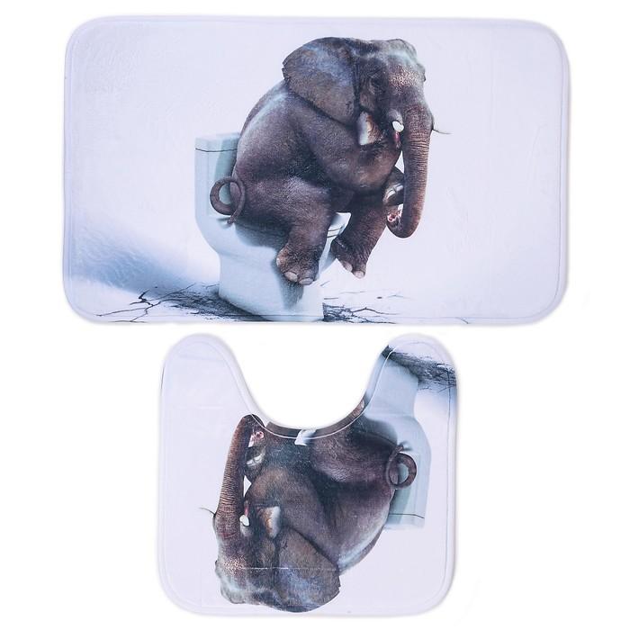 """Набор ковриков для ванной и туалета 50×80, 50×40 см """"Слон"""" 2 шт"""
