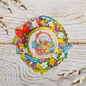Свеча пасхальная с пожеланием «Пасхальная композиция», 7,5 х 7,5 см