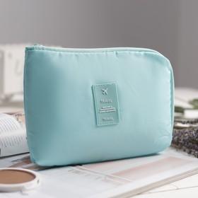 Cosmetic bag road, division zipper, color mint