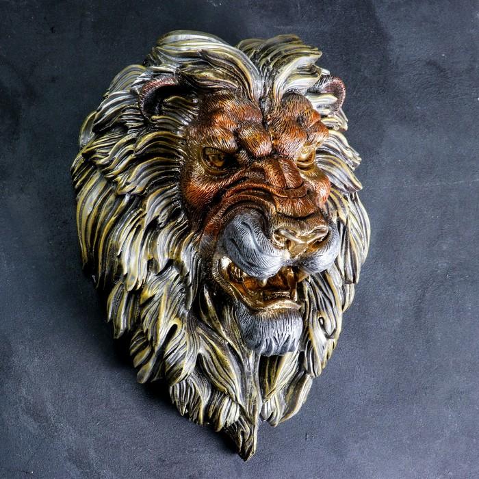 """Подвесной декор """"Голова льва"""" бронза"""