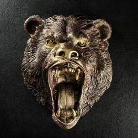 """Подвесной декор """"Голова медведя"""" бронза, 24х35х42см"""