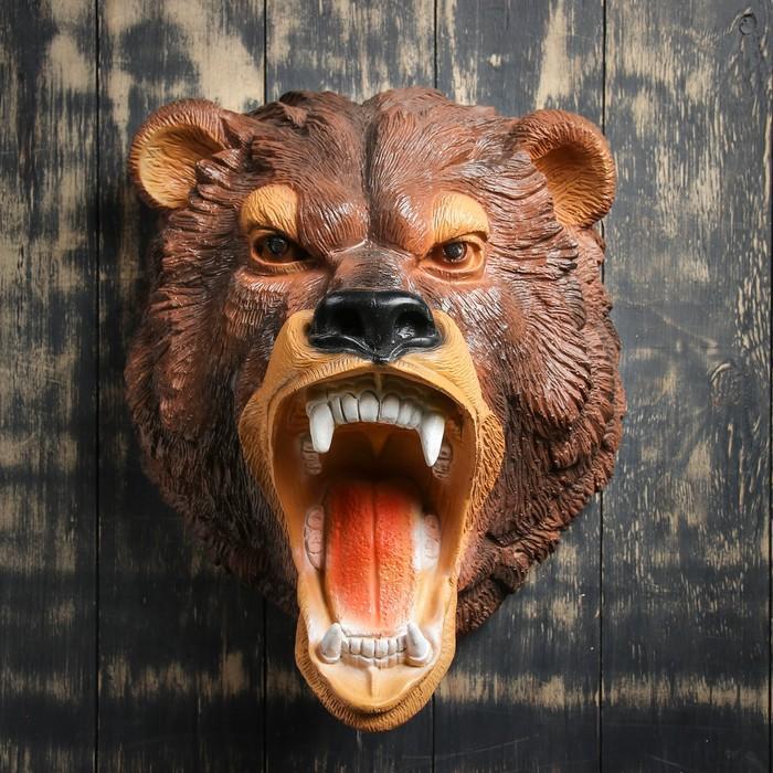 """Подвесной декор """"Голова медведя"""" коричневая"""