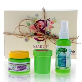 Подарочный набор органической косметики «Весеннее настроение»: масло водорослевое, масло ши, крем для век