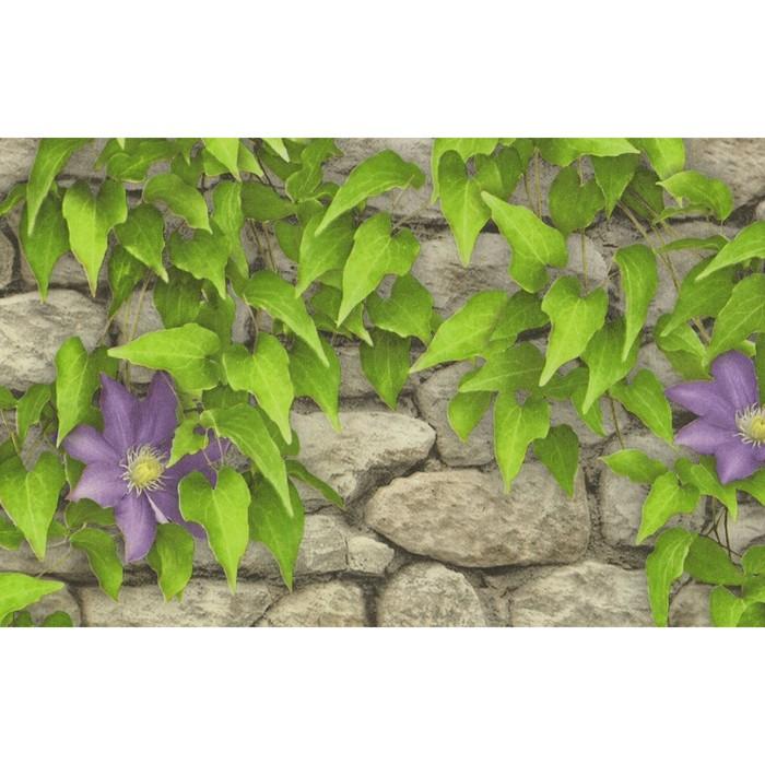 Обои бумажные, моющиеся Брянск Клематис-6 сиреневые цветы, 0,53x10 м