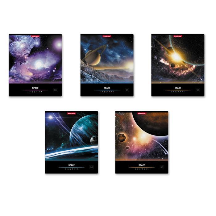 """Тетрадь 96 листов клетка """"Вселенная"""", картонная обложка, микс"""