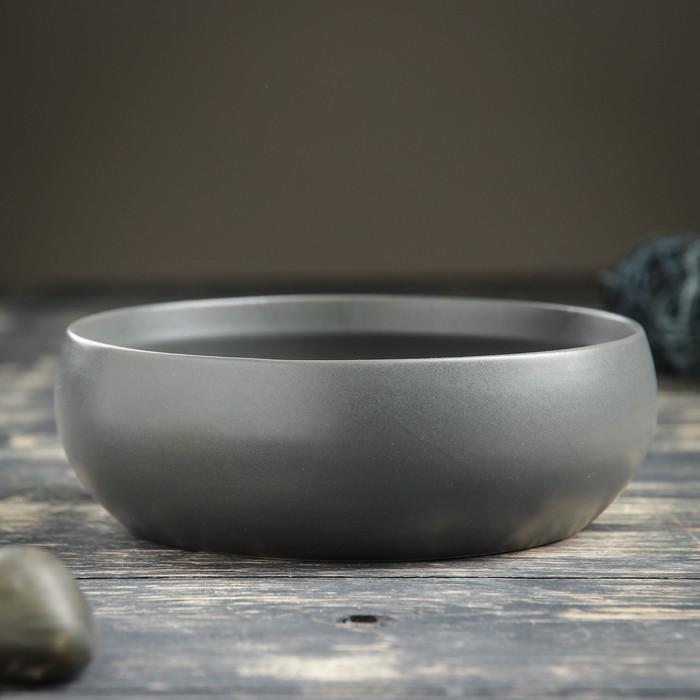 """Кашпо-бонсайница керамическое круглое """"Плошка"""" серое 16*16*5 см - фото 822195"""