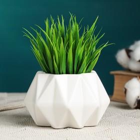 """Кашпо керамическое """"Треугольники"""" белое 10*10*7 см"""