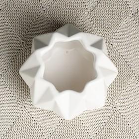"""Кашпо керамическое """"Треугольники"""" белое 10*10*7 см - фото 1693056"""
