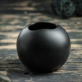 """Кашпо керамическое """"Круглое"""" черное 10*10*8 см"""