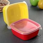 Набор контейнеров квадратных 2 шт: 0,8 л, 1,2 л , цвет МИКС