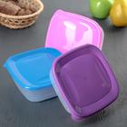 Набор контейнеров квадратных 0,8 л, 3 шт, цвет МИКС