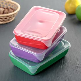 Набор контейнеров прямоугольных 0,9 л, 3 шт, цвет МИКС