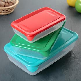 Набор контейнеров прямоугольных, 3 шт: 0,9 л, 1,9 л, 3 л, цвет МИКС