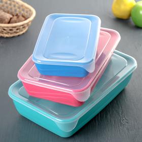 Набор контейнеров прямоугольных 3 шт: 0,9 л, 1,9 л, 3 л, цвет МИКС