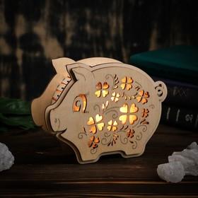 Соляная лампа из дерева 'Хрюша' 6,5 см × 19,5 см × 15 см Ош