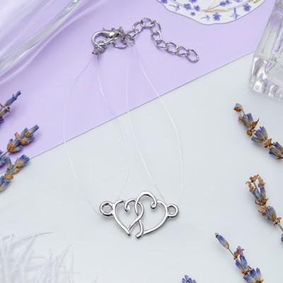 "Bracelet ""On the line"" hearts, color silver"