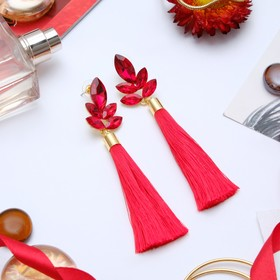 """Earrings assorted """"Brush"""" the glitter of the evening, branch, color red, L of the brush is 6.5 cm"""