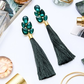 """Earrings assorted """"Brush"""" the glitter of the evening, branch, color, emerald, brush L 8cm"""