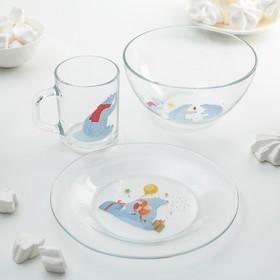 """Набор детской посуды """"Белый медведь"""", 3 предмета"""