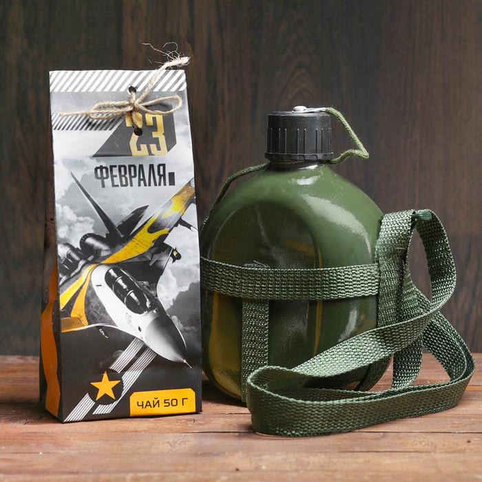 """Набор """"Настоящему герою"""", фляжка 1л, чёрный чай 50 г"""