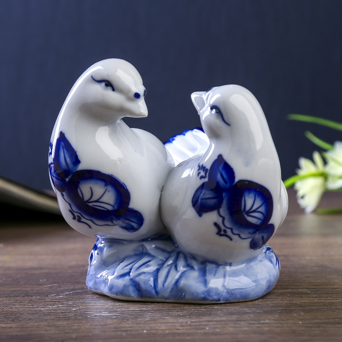 """Сувенир """"Два голубя"""" синяя роспись 9,8х11х10,3 см"""