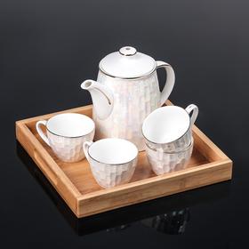 """Набор чайный """"Градиент"""", 5 предметов: чайник 850 мл, 4 кружки 150 мл, 7х5 см, на деревянной подставке"""