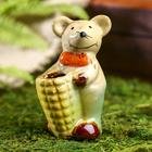 """Сувенир керамика подставка для зубочисток """"Мышата с кукурузой"""" набор 2 шт 7х4,5х4 см"""