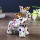 """Нэцке керамика """"Слон разноцветный с жезлом Жуи"""" 7,7х4х3"""