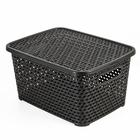 Ящик для хранения с крышкой «Ротанг», цвет коричневый - фото 308327202