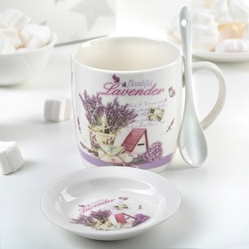 "Mug 330 ml ""Lavender"", with stand and spoon, pattern MIX"