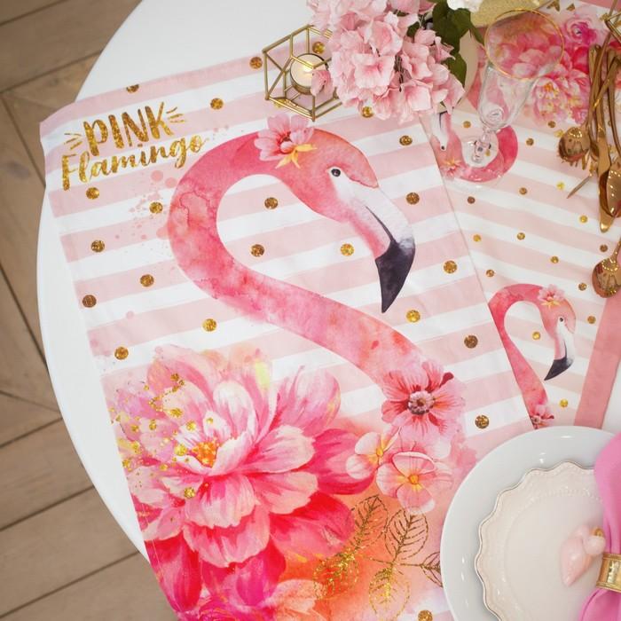 """Полотенце """"Этель"""" Pink flamingo 40х67 см, 100% хл, саржа 190 гр/м2"""